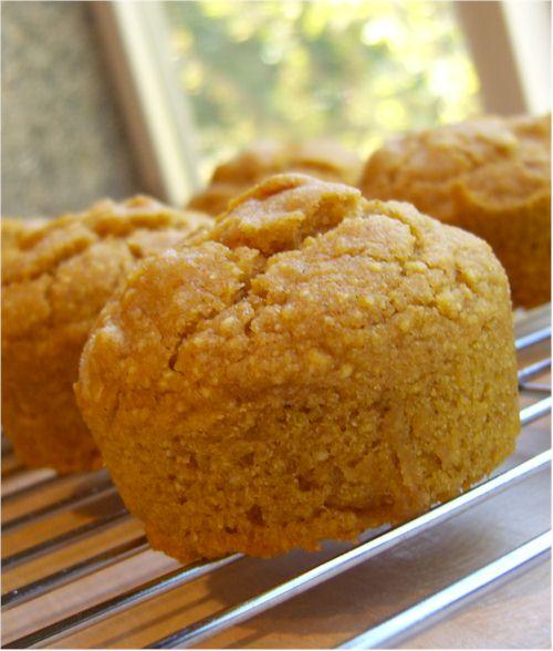 gluten-free, egg-free pumpkin cornbread muffins