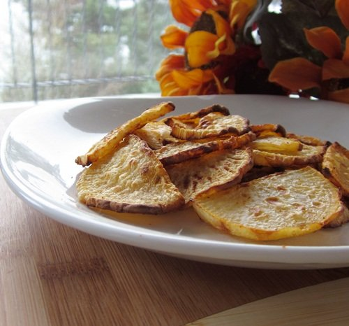 "Low Fat Roasted Rutabaga ""Chips"
