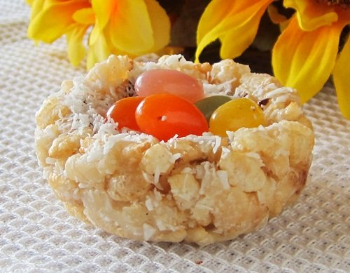 "Coconut Crispy Treat ""Nests"" with Jelly Bean ""Eggs"" Recip..."